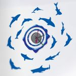 Horloge murale sticker design Dauphins