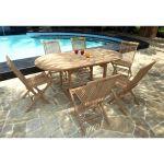 Wood-en-stock Table de jardin Bali en teck avec 6 chaises en résine tressée