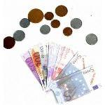 Pièces de monnaie et billets pour jeu de marchande