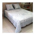 Soleil d'Ocre Couvre-lit boutis matelassé Bea avec 2 taies d'oreiller (220 x 24 0cm)