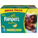 Pampers Baby Dry taille 5 Junior 11-25 kg - Mega Pack 80 couches