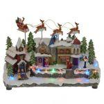 Village de Noël lumineux : Père Noël ou Traîneau dans le ciel