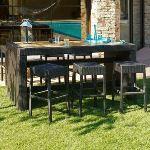 DCB Garden Bar d'extérieur Cuba en aluminium avec 6 tabourets