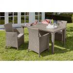 Allibert Futura - Ensemble table de jardin 165 cm + 4 fauteuils
