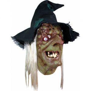 Masque sorcier pustuleux adulte avec chapeau et cheveux