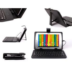 Duragadget Etui aspect cuir avec clavier intégré, port de maintien et stylet pour tablette Archos 70 Titanium et 70 Internet