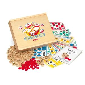 Jeujura Coffret en bois : jeu de loto 48 cartes pions