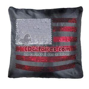 Housse de coussin sequins US Flag
