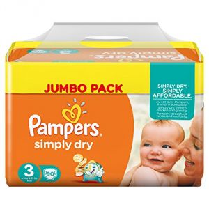 Pampers Simply Dry taille 3 Midi 4-9 kg - Jumbo Pack 90 couches
