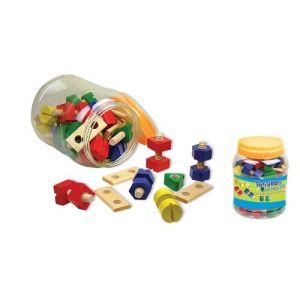 Andreu Toys Boîte de boulons et écrous en bois