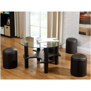 Table basse Mainstream avec 4 poufs en simili