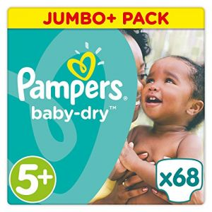 Pampers Baby Dry taille 5+ Junior+ (13-27 kg) - Jumbo Plus Pack 68 couches