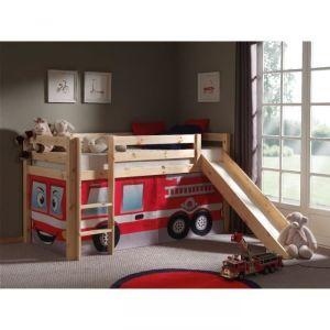Vipack Furniture Lit Pino Pompier pour enfant avec toboggan 90 x 200 cm