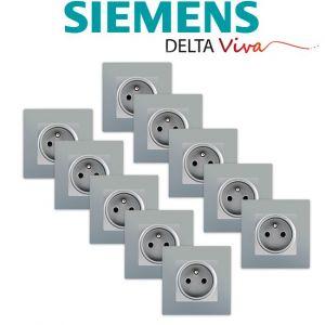 Siemens LOT 10 Prise 2P+T Silver Delta Viva + Plaque Silver