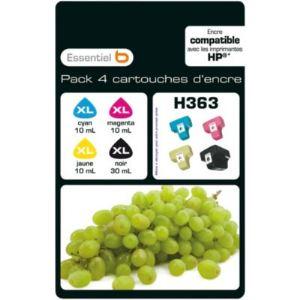 EssentielB MultiPack H363XL - 4 Cartouches d'encre noire et couleurs compatibles HP 363 XL