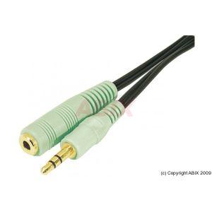 Cordon sortie audio jack 3.5mm M/F PC99 vert 5m