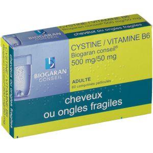 Biogaran Cystine/Vitamine B6 Conseil 500 mg/50 mg - 60 Comprimés