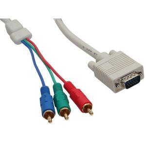 Inline 17210 - Câble VGA RGB VGA plug à 3x Cinch plug 10 m