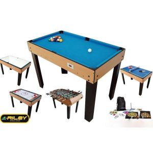 BCE Riley Table multi jeux 21 en 1 pliable bois