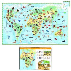 Djeco Puzzle Les animaux du monde + Poster et livret 100 pièces