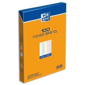 Oxford 23702909 - Boîte de 100 fiches bristol 210g 5x5 non perforées (A4)