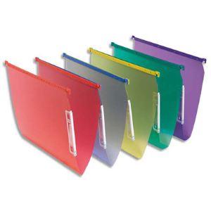 Fast Boîte de 10 dossiers suspendus en polypropylène pour armoire (fond : 15 mm)