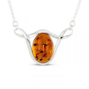 Rêve de diamants COBA01011 - Collier en argent 925/1000 et ambre