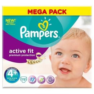 Pampers Active Fit taille 4+ maxi 9-20 kg - Mega pack 72 couches