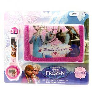 Coffret montre digitale et portefeuille pour fille La Reine des Neiges