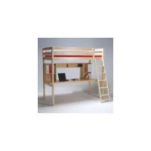 Lit mezzanine Studio 90 x 190 cm avec bureau/étagères/caisson