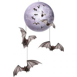 Décoration à suspendre lune & chauve-souris Halloween