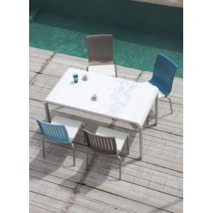 Grosfillex Alice - Table de jardin rectangulaire en résine 150 x 80 x 75 cm