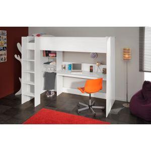 Parisot Lit mezzanine Swane avec bureau et étagères (90 x 200 cm)