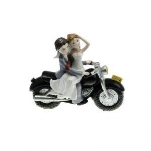 Chaks 80160 - Figurine en résine Couple de Mariés sur moto