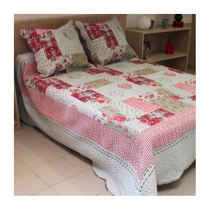 Soleil d'Ocre Couvre-lit boutis matelassé Sorgues avec 2 taies d'oreiller (220 x 240 cm)