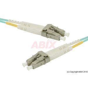 MCAD Cordon fibre optique AQUA duplex OM3 en 50/125um LC vers LC 30m