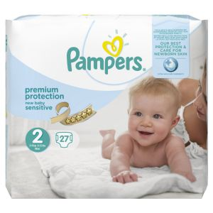 Pampers Premium Protection New Baby Sensitive taille 2 Mini 3-6 kg - 27 couches