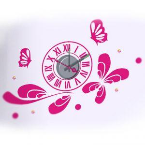 Horloge murale sticker Design Pink butterflies