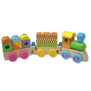 Andreu Toys Train multicolore en bois naturel
