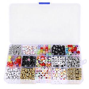 Kit 1100 perles de lettre alphabet pour bracelet tressé avec boîte de rangement