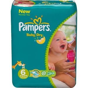 Pampers Baby Dry taille 6 Extra large (+16 kg) - Pack économique x 124 couches