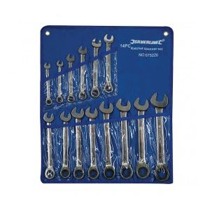 Silverline 675226 - Trousse de 14 clés mixtes à cliquet à tête droite 8 - 24 mm