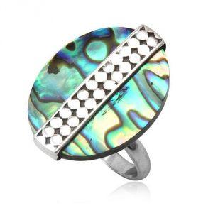 Blue Pearls Cry 8424 T - Bague ovale Abalone ajustable en argent 925°