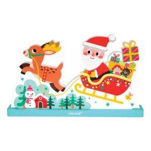 Janod Le traîneau du Père Noël - Puzzle vertical magnétique