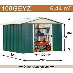 Yardmaster 108GEYZ - Abri de jardin en métal 6,44 m2