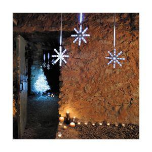 Blachère illumination Rideau étoiles et pluie de lumière blanche 3 descentes