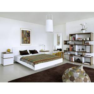 Tema home Lit double Float avec tête de lit en cuir sans sommier (180 x 200 cm)
