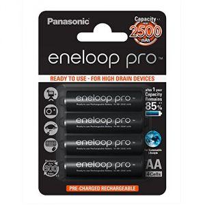 Panasonic 4 piles rechargeables Eneloop PRO LR06-AA (BK-3HCCE/4BE)