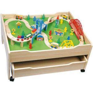 Partner jouet A1102284 - Ensemble table et circuit de train en bois