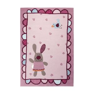 Unamourdetapis Tapis enfant Happy Friends Hearts en acrylique (90 x 160 cm)
